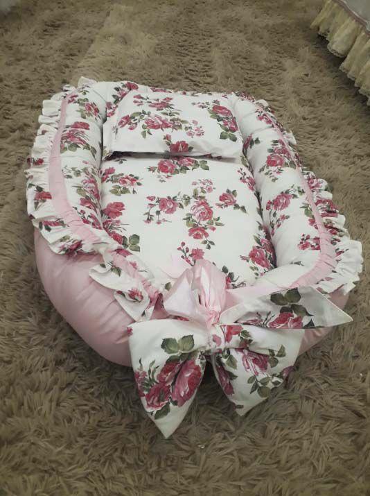 Ninho Redutor de Berço floral rosa