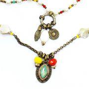 Bijuteria - colar feminino longo corrente cristais e pingentes - 1194