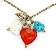 Bijuteria - colar feminino longo cristais e pingentes - 7583