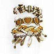 Bijuterias - Pulseira feminina cristais, camurça e strass - 7849