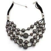 Colar feminino bolas ABS, Bolas strass e camurça - bijuteria - 3962