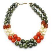 Colar feminino bolas e pérolas - bijuteria - 3633