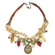 Colar feminino camurça, elos e pingentes - bijuterias - 2550