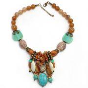 Colar feminino camurça, pedras, resinas - bijuterias - 4909
