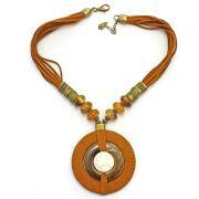 Colar feminino camurça, resinas e pedra - bijuteria - 2363