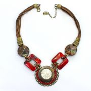 Colar feminino camurça, resinas e pedras - bijuterias - 2443