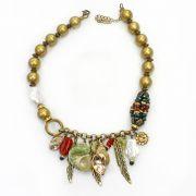 Colar feminino corrente, bolas, pingentes - bijuterias - 2466