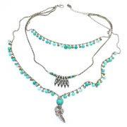 Colar feminino corrente, cristais e metais - bijuteria - 1278