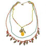Colar feminino, corrente, cristais e pingentes - Bijuterias - 7580