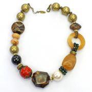 Colar feminino curto bolas, resinas, cristais - bijuterias - 2682