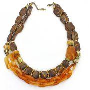 Colar feminino curto resinas e cristais - bijuterias - 2383