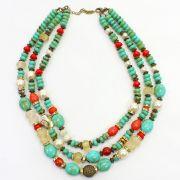 Colar feminino curto resinas, pérolas e metais - bijuterias - 3645