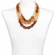 Colar Feminino elos, corrente, camurça   bijuteria Fina   CX-0673