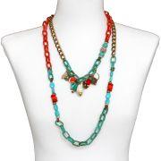 Colar feminino elos, corrente e pingente - bijuteria- 1500
