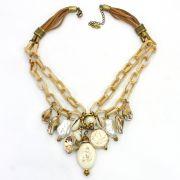 Colar feminino elos e pingentes - bijuteria - 2577