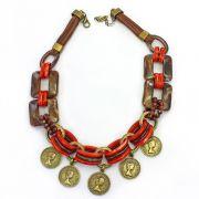 Colar feminino elos, metais e moedas - bijuterias - 2283