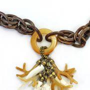 Colar feminino longo, camurça, elos e pedras - bijuteria - 2293