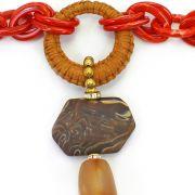 Colar feminino longo camurça, elos e resinas - bijuterias- 2470