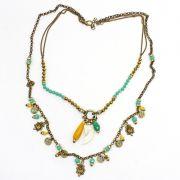 Colar feminino longo, correntes, cristais e pingentes - bijuterias - 7774
