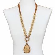 Colar feminino longo, cristais, corrente, corrente| Bijuteria fina| CX-0699