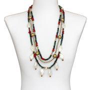 Colar feminino madrepérolas, cristais e miçangas - bijuterias - 2447