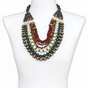 Colar feminino max bolas, cristais, pérolas e cascalhos - bijuteria - 3654