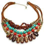 Colar feminino max colorido resinas e cascalho - bijuterias - 4229