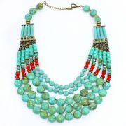 Colar feminino max resinas e cristais - bijuterias - 1258