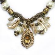 Colar feminino Pérolas metal e strass | Bijuteria Fina | CX-1824