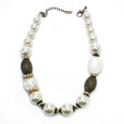 Colar Feminino pérolas, pedras e cristais |Bijuteria Fina | CX-4560