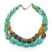 Colar feminino resinas, cristais e pedras - bijuterias - 2205