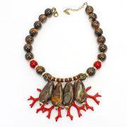 Colar feminino resinas e cristais - bijuterias - 2788