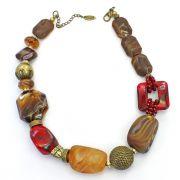 Colar feminino resinas, metais - bijuterias - 2590