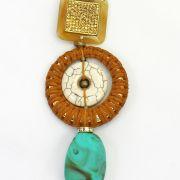 Colar feminino longo camurça, pedra , e resinas - bijuteria - 2698