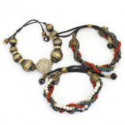 Pulseira feminina ajustável , 3 voltas , bolas, miçangas, pérolas e cristais - Bijuterias - 3641
