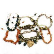Pulseira feminina ajustável, cascalho , cristais, metais e strass - Bijuterias - 3648