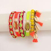 Pulseira feminina aro com cordão , búzios e tassel - Bijuterias - 2308