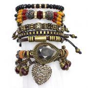 Pulseira  feminina colorida, ajustável, varias voltas,cristais, camurças e pingentes -3634