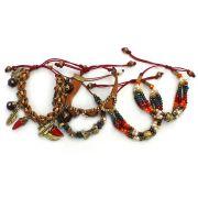 Pulseira feminina , várias voltas, camurça, cristais, pingentes e strass - Bijuterias - 3699