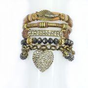 pulseira feminina cristais, metais, couro sintético - bijuterias - 1012