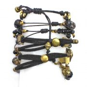 Pulseira feminina Dourada com preto, cristais e pingentes - Bijuterias - 2148