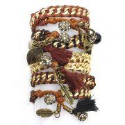 Pulseira feminina, ouro velho, corrente, cordão, pingentes - 4760