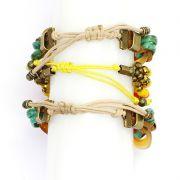 Pulseira feminina, resinas, metal e cristais  -Bijuterias - 8076