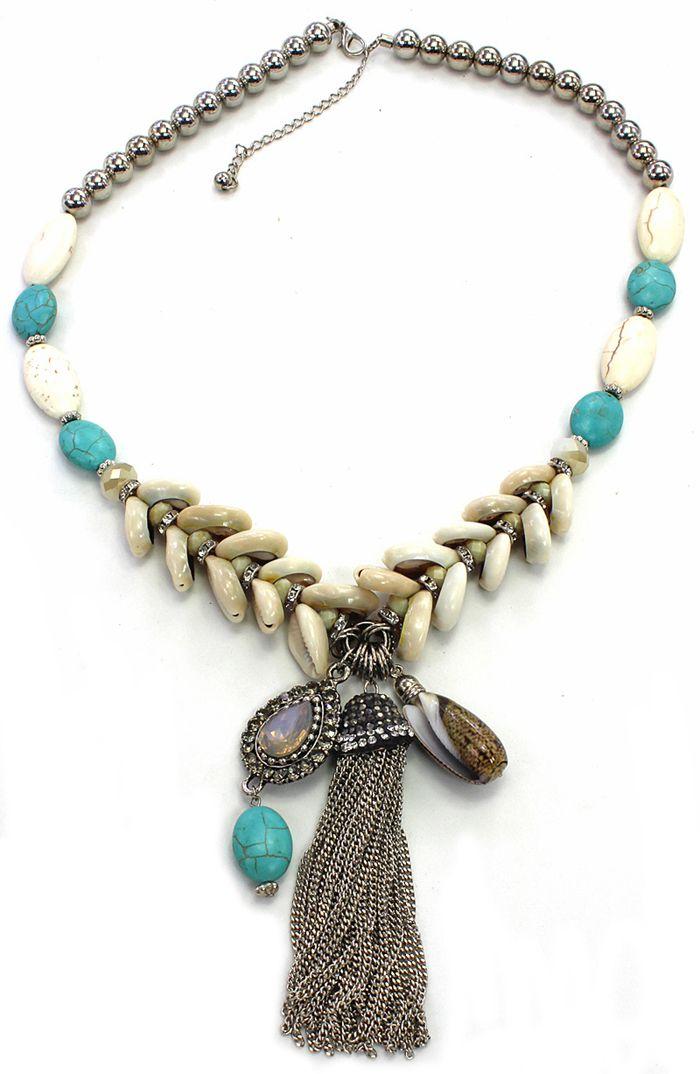Bijuteria - colar feminino búzios e pedras - 1682