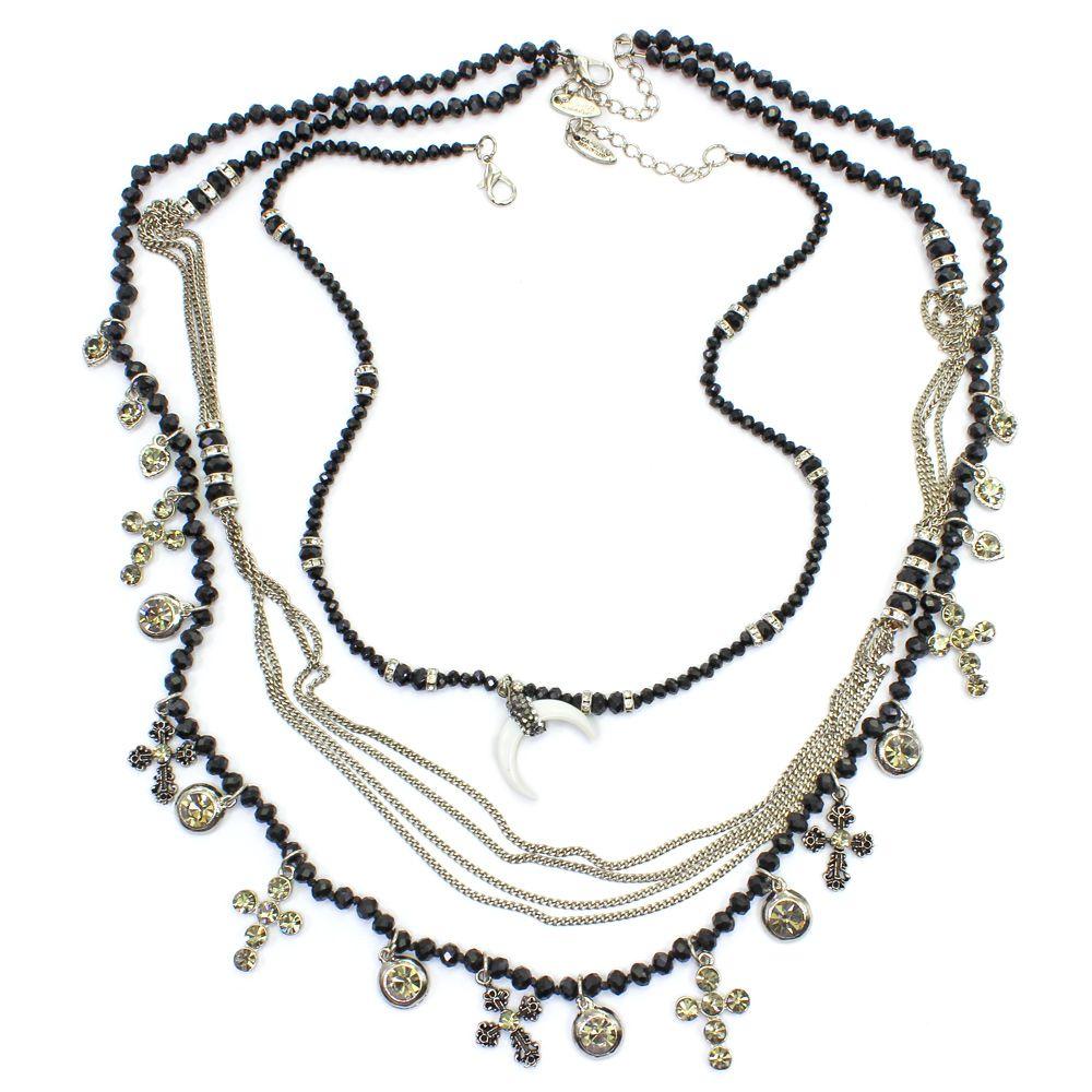 Bijuteria - Colar feminino, corrente, cristais e pingentes - 7743