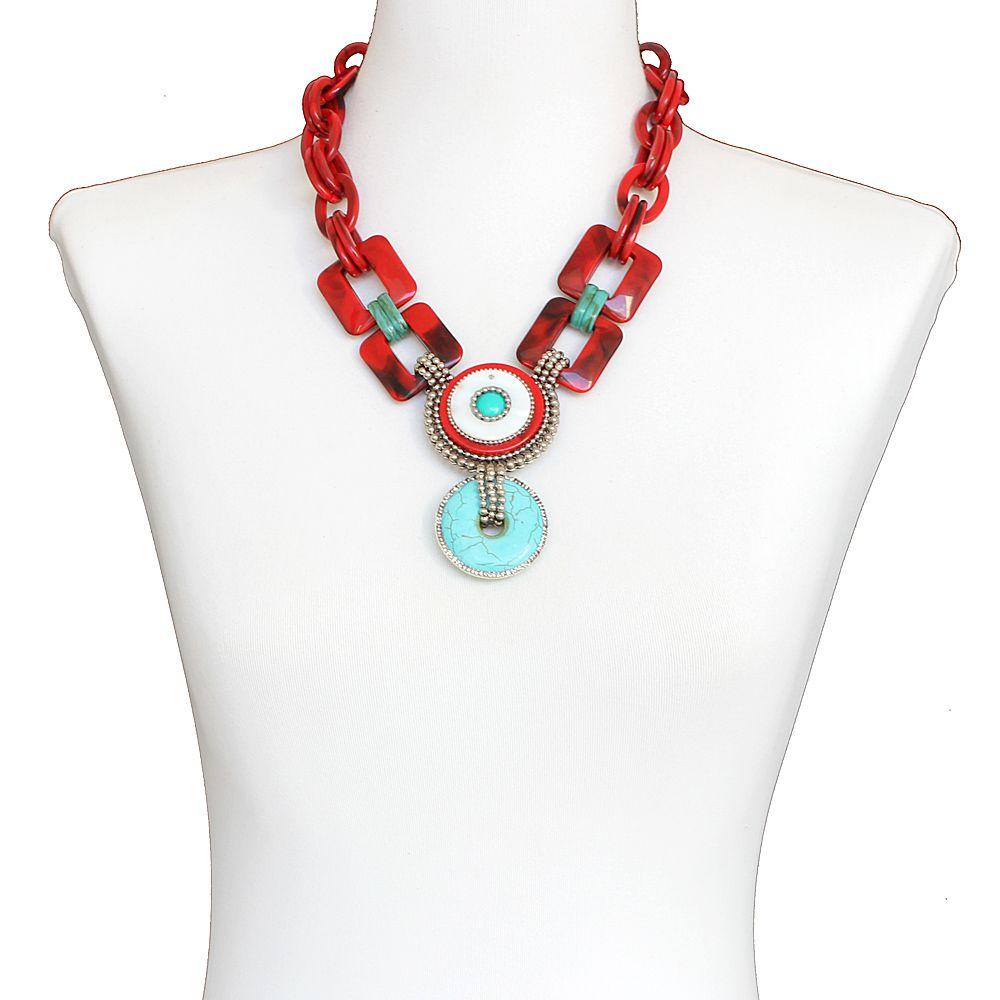 Bijuteria - Colar feminino elos, resina, pedras e strass - 8241