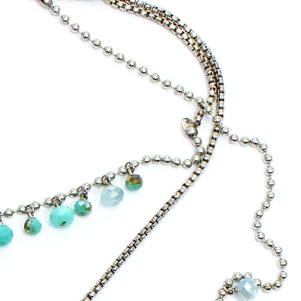 Bijuteria - Colar feminino longo cristais , metais e corrente - 1278
