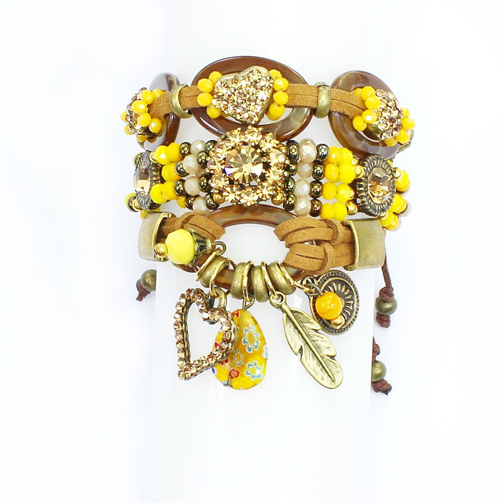 bijuteria - pulseira feminina elos , camurça e cristais - 0876