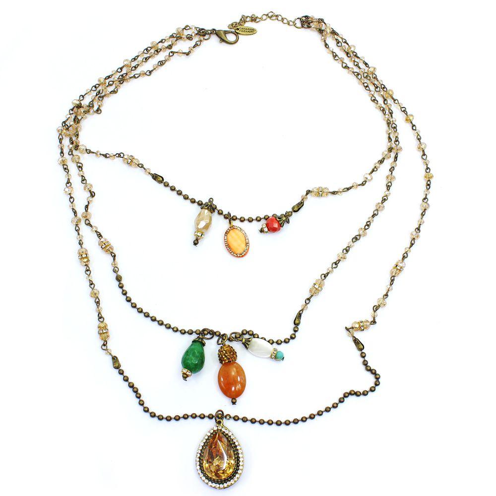 Bijuterias - colar cristais, corrente e pingentes - 6763