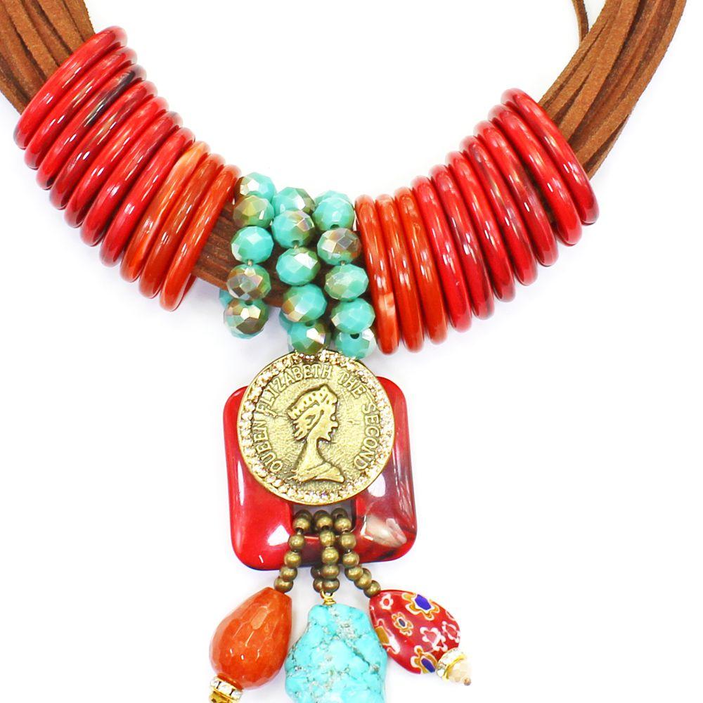 Bijuterias - Colar feminino camurça, cristais, resina e pedras - 8248